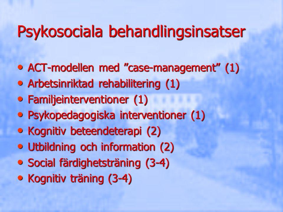 """Psykosociala behandlingsinsatser ACT-modellen med """"case-management"""" (1) ACT-modellen med """"case-management"""" (1) Arbetsinriktad rehabilitering (1) Arbet"""