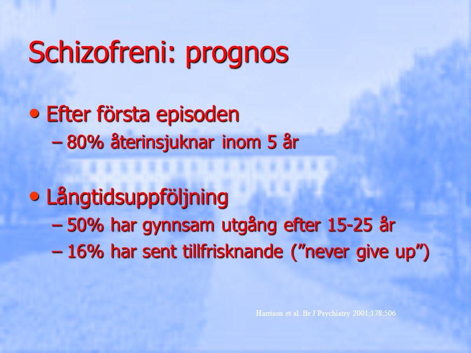 Schizofreni: prognos Efter första episoden Efter första episoden –80% återinsjuknar inom 5 år Långtidsuppföljning Långtidsuppföljning –50% har gynnsam