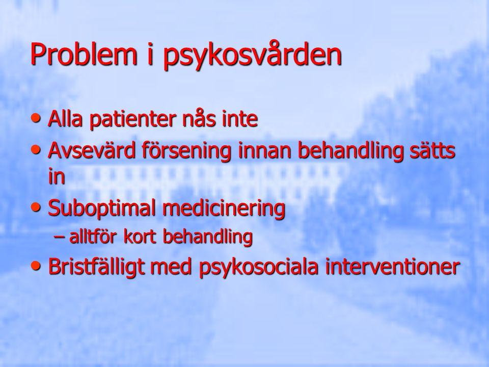 Problem i psykosvården Alla patienter nås inte Alla patienter nås inte Avsevärd försening innan behandling sätts in Avsevärd försening innan behandlin