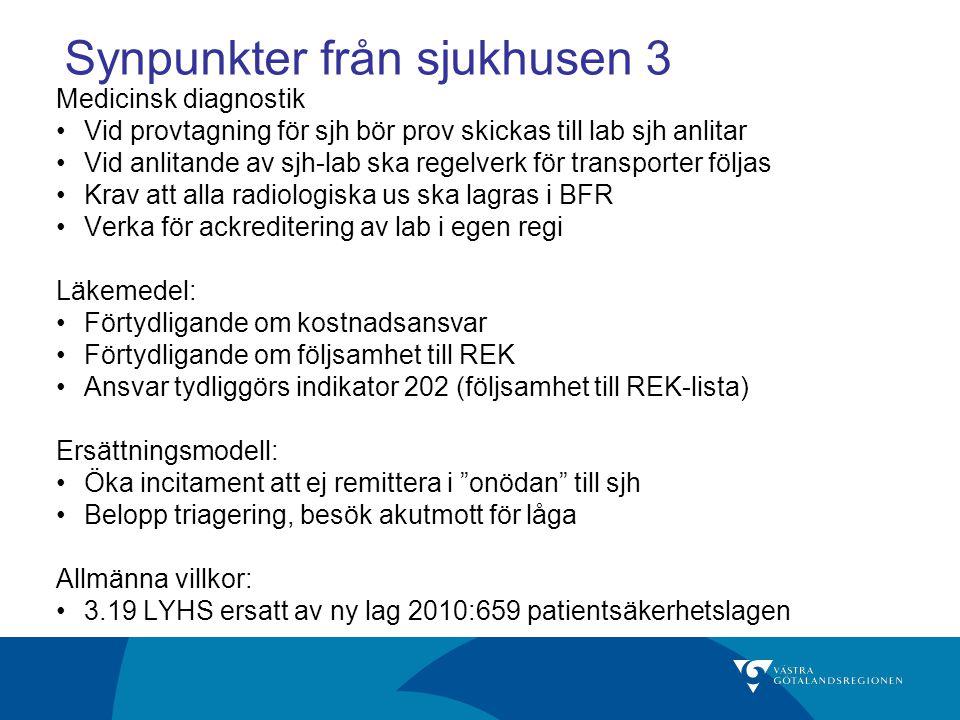 Synpunkter från sjukhusen 3 Medicinsk diagnostik Vid provtagning för sjh bör prov skickas till lab sjh anlitar Vid anlitande av sjh-lab ska regelverk för transporter följas Krav att alla radiologiska us ska lagras i BFR Verka för ackreditering av lab i egen regi Läkemedel: Förtydligande om kostnadsansvar Förtydligande om följsamhet till REK Ansvar tydliggörs indikator 202 (följsamhet till REK-lista) Ersättningsmodell: Öka incitament att ej remittera i onödan till sjh Belopp triagering, besök akutmott för låga Allmänna villkor: 3.19 LYHS ersatt av ny lag 2010:659 patientsäkerhetslagen