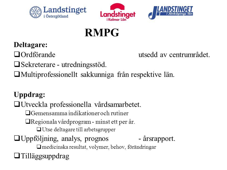 RMPG Deltagare:  Ordförande utsedd av centrumrådet.  Sekreterare - utredningsstöd.  Multiprofessionellt sakkunniga från respektive län. Uppdrag: 