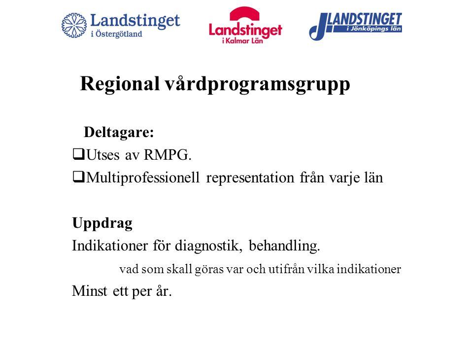 Regional vårdprogramsgrupp Deltagare:  Utses av RMPG.  Multiprofessionell representation från varje län Uppdrag Indikationer för diagnostik, behandl