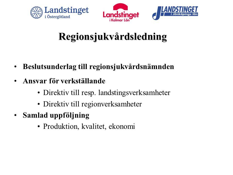 Regionsjukvårdsledning Beslutsunderlag till regionsjukvårdsnämnden Ansvar för verkställande Direktiv till resp. landstingsverksamheter Direktiv till r