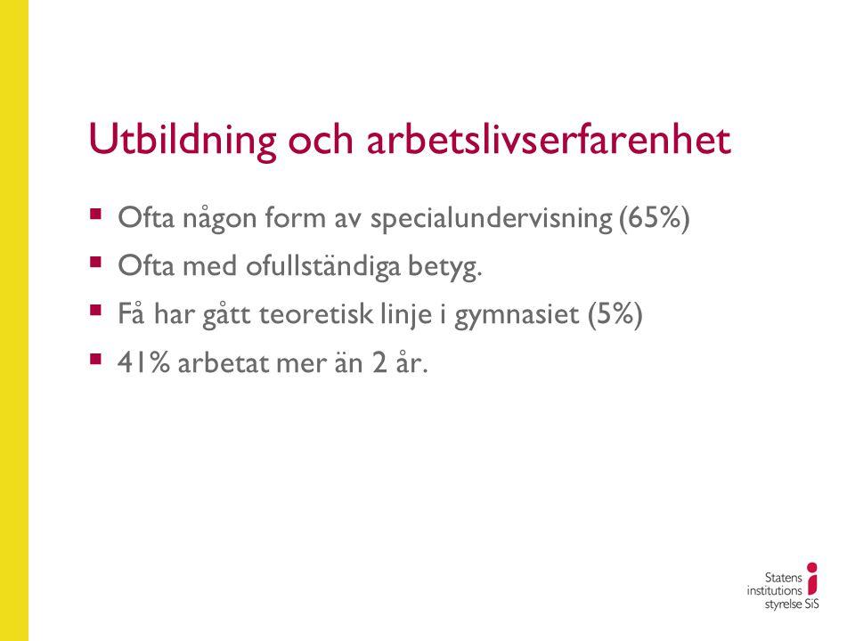 Utbildning och arbetslivserfarenhet  Ofta någon form av specialundervisning (65%)  Ofta med ofullständiga betyg.