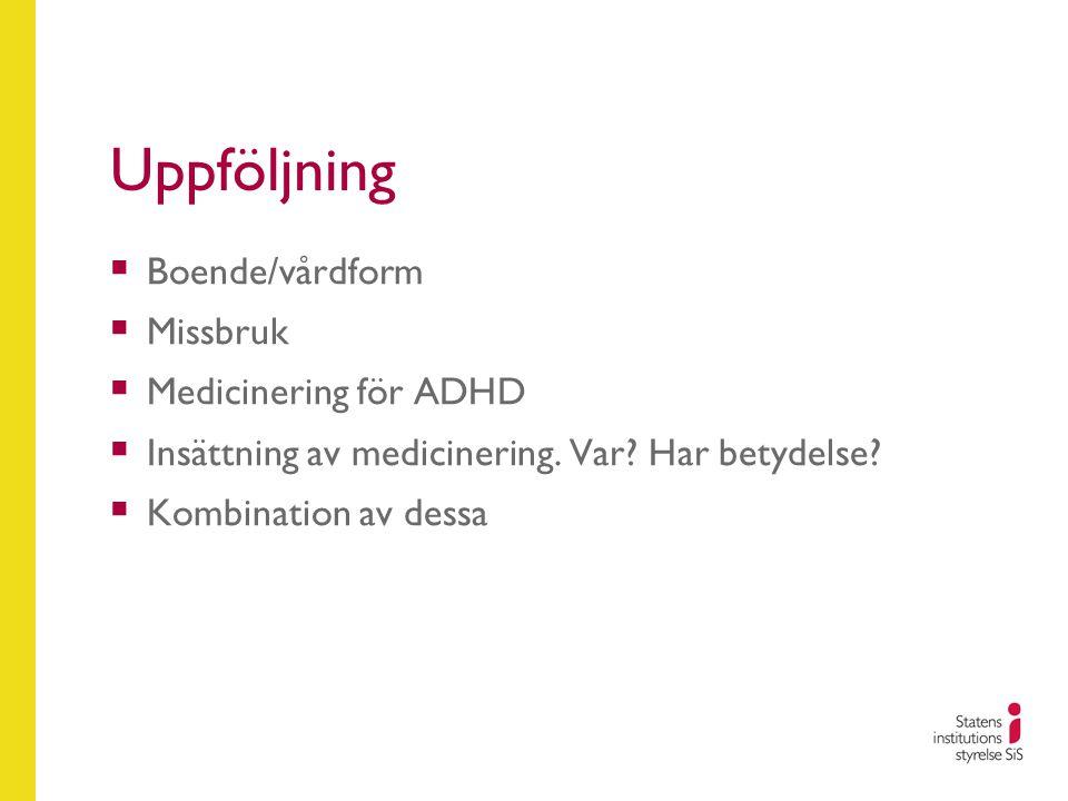 Uppföljning  Boende/vårdform  Missbruk  Medicinering för ADHD  Insättning av medicinering. Var? Har betydelse?  Kombination av dessa