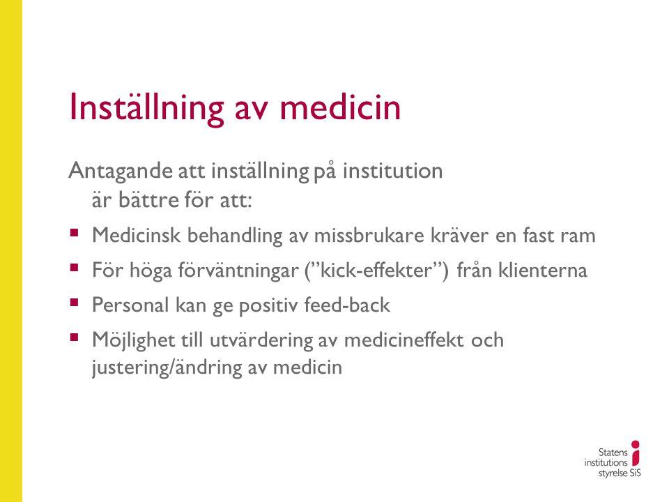 Inställning av medicin Antagande att inställning på institution är bättre för att:  Medicinsk behandling av missbrukare kräver en fast ram  För höga förväntningar ( kick-effekter ) från klienterna  Personal kan ge positiv feed-back  Möjlighet till utvärdering av medicineffekt och justering/ändring av medicin