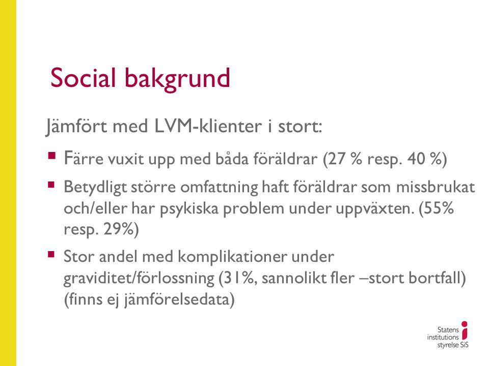 Social bakgrund Jämfört med LVM-klienter i stort:  F ärre vuxit upp med båda föräldrar (27 % resp. 40 %)  Betydligt större omfattning haft föräldrar