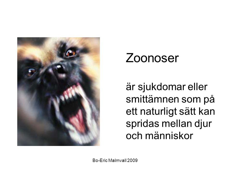 Bo-Eric Malmvall 2009 Zoonoser är sjukdomar eller smittämnen som på ett naturligt sätt kan spridas mellan djur och människor