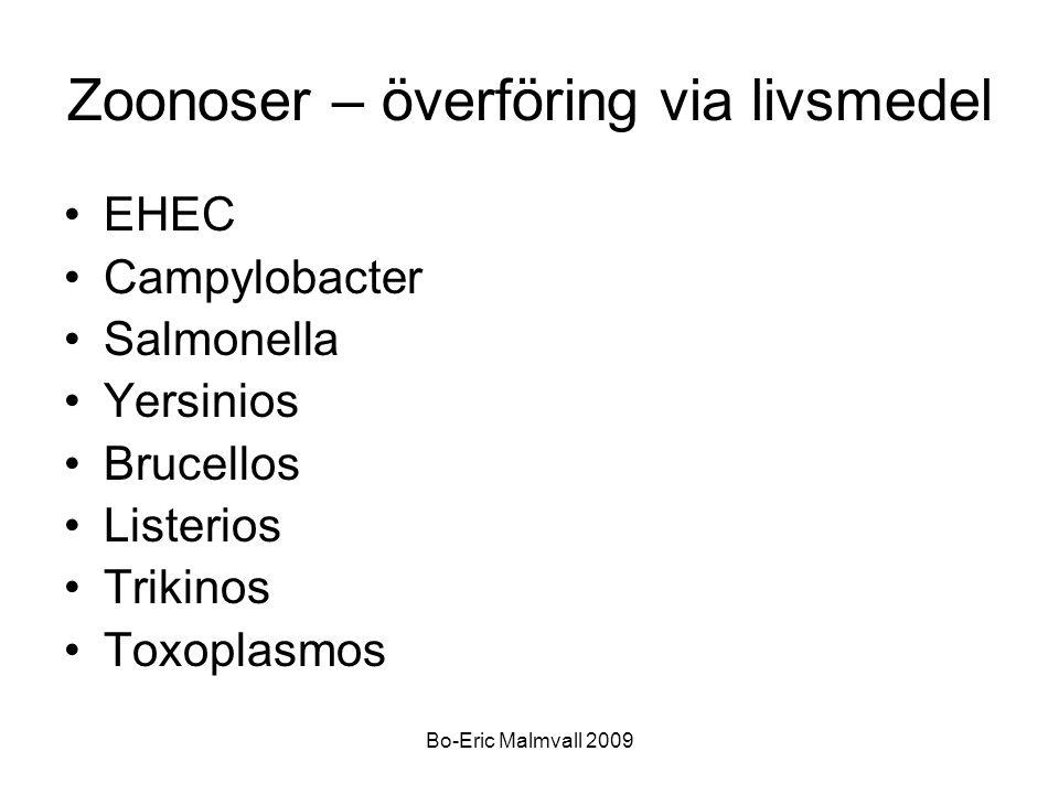 Bo-Eric Malmvall 2009 Zoonoser – överföring via livsmedel EHEC Campylobacter Salmonella Yersinios Brucellos Listerios Trikinos Toxoplasmos