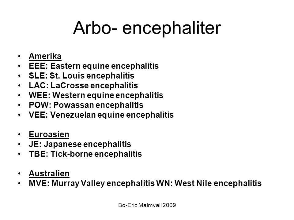Bo-Eric Malmvall 2009 Arbo- encephaliter Amerika EEE: Eastern equine encephalitis SLE: St. Louis encephalitis LAC: LaCrosse encephalitis WEE: Western