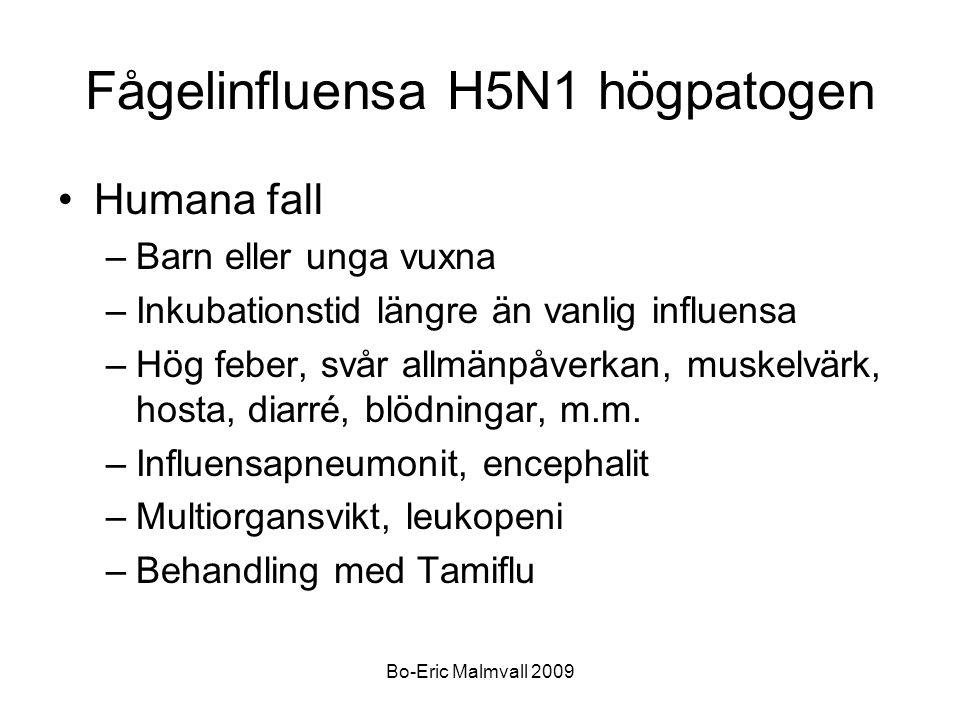 Bo-Eric Malmvall 2009 Fågelinfluensa H5N1 högpatogen Humana fall –Barn eller unga vuxna –Inkubationstid längre än vanlig influensa –Hög feber, svår al
