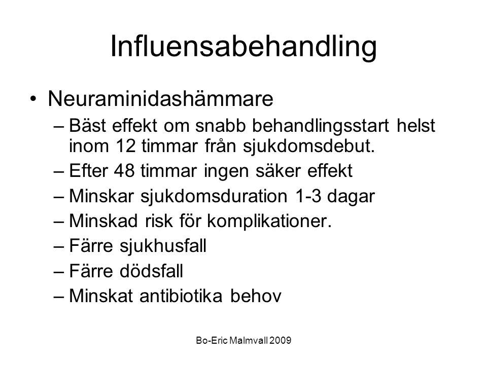 Bo-Eric Malmvall 2009 Influensabehandling Neuraminidashämmare –Bäst effekt om snabb behandlingsstart helst inom 12 timmar från sjukdomsdebut. –Efter 4