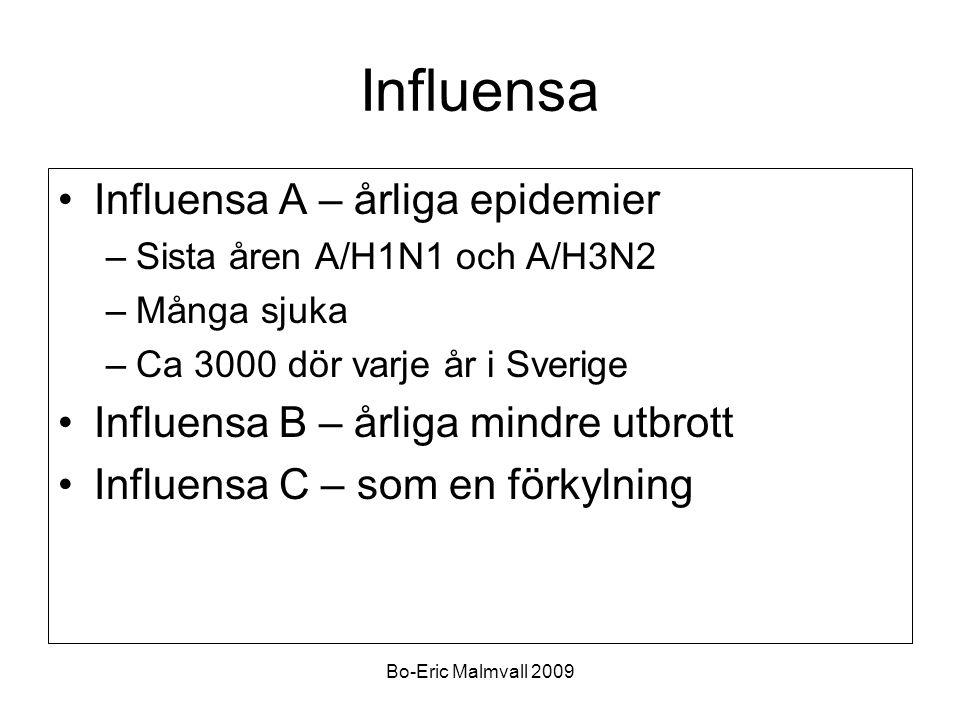 Bo-Eric Malmvall 2009 Influensa Influensa A – årliga epidemier –Sista åren A/H1N1 och A/H3N2 –Många sjuka –Ca 3000 dör varje år i Sverige Influensa B