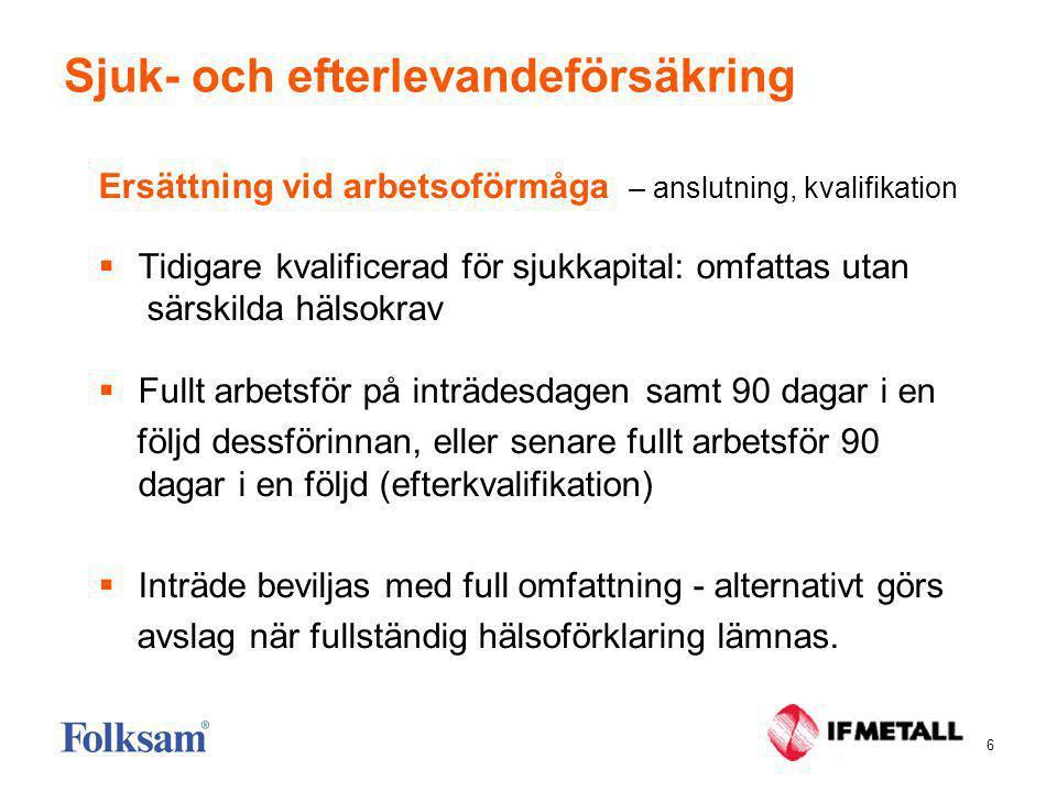 6 Sjuk- och efterlevandeförsäkring Ersättning vid arbetsoförmåga – anslutning, kvalifikation  Tidigare kvalificerad för sjukkapital: omfattas utan sä