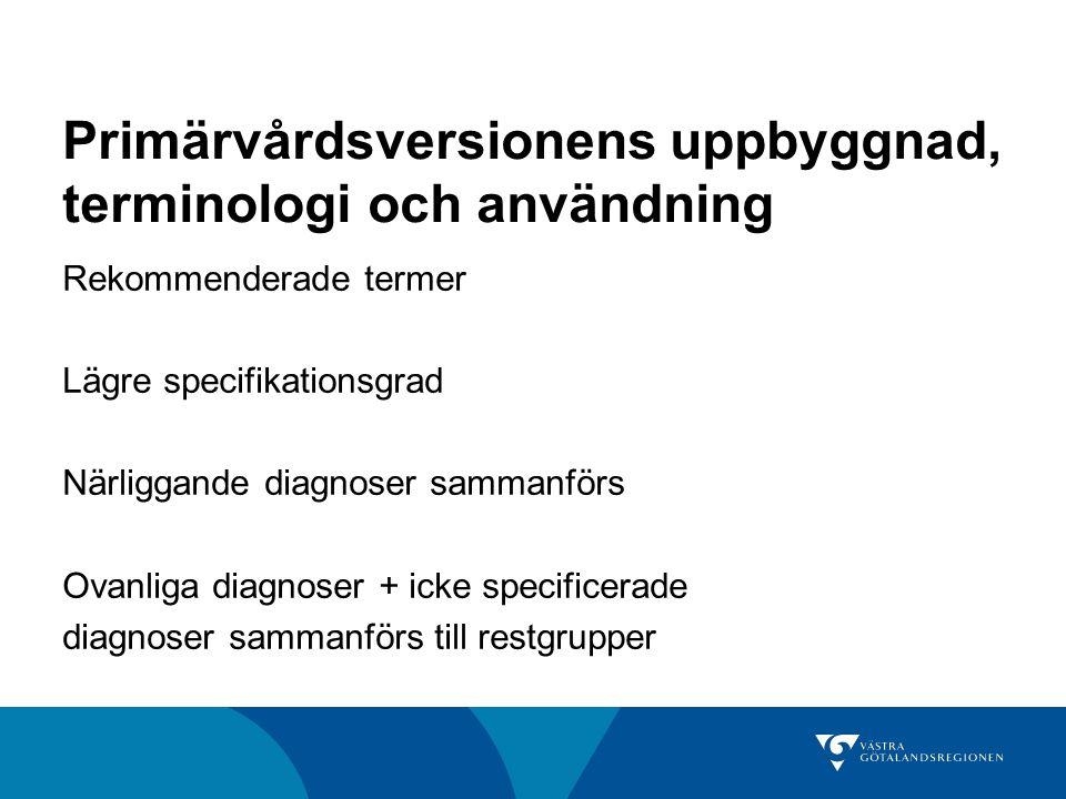 Primärvårdsversionens uppbyggnad, terminologi och användning Rekommenderade termer Lägre specifikationsgrad Närliggande diagnoser sammanförs Ovanliga diagnoser + icke specificerade diagnoser sammanförs till restgrupper