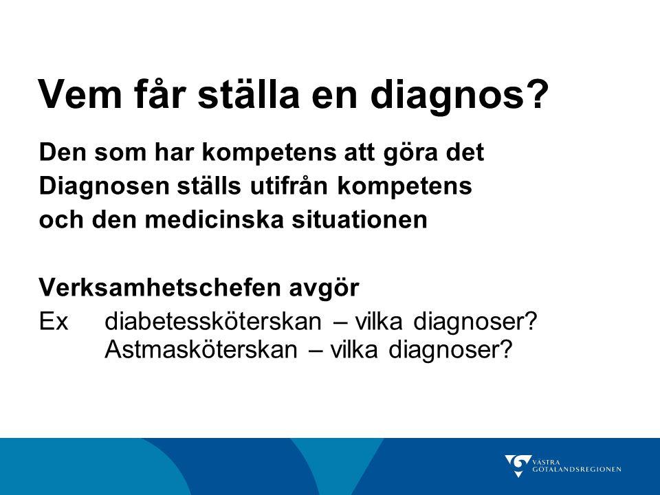 Vem får ställa en diagnos.
