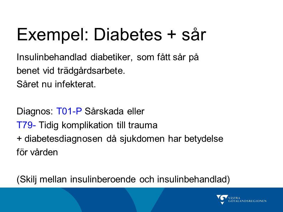 Exempel: Diabetes + sår Insulinbehandlad diabetiker, som fått sår på benet vid trädgårdsarbete.