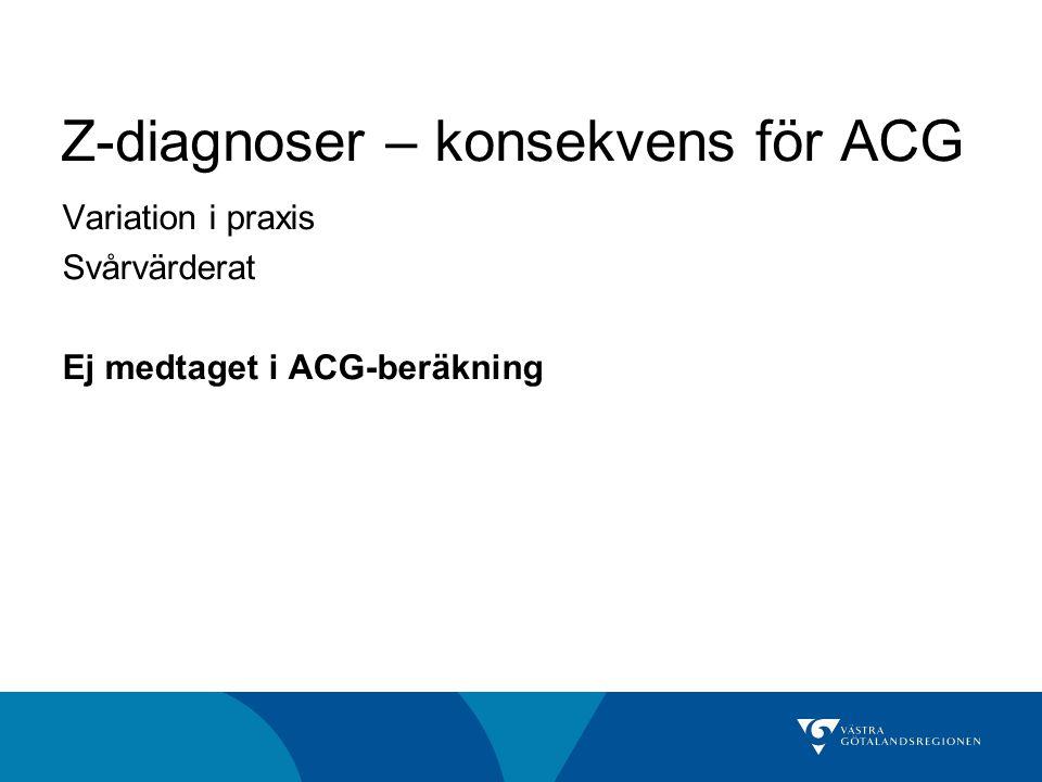 Z-diagnoser – konsekvens för ACG Variation i praxis Svårvärderat Ej medtaget i ACG-beräkning