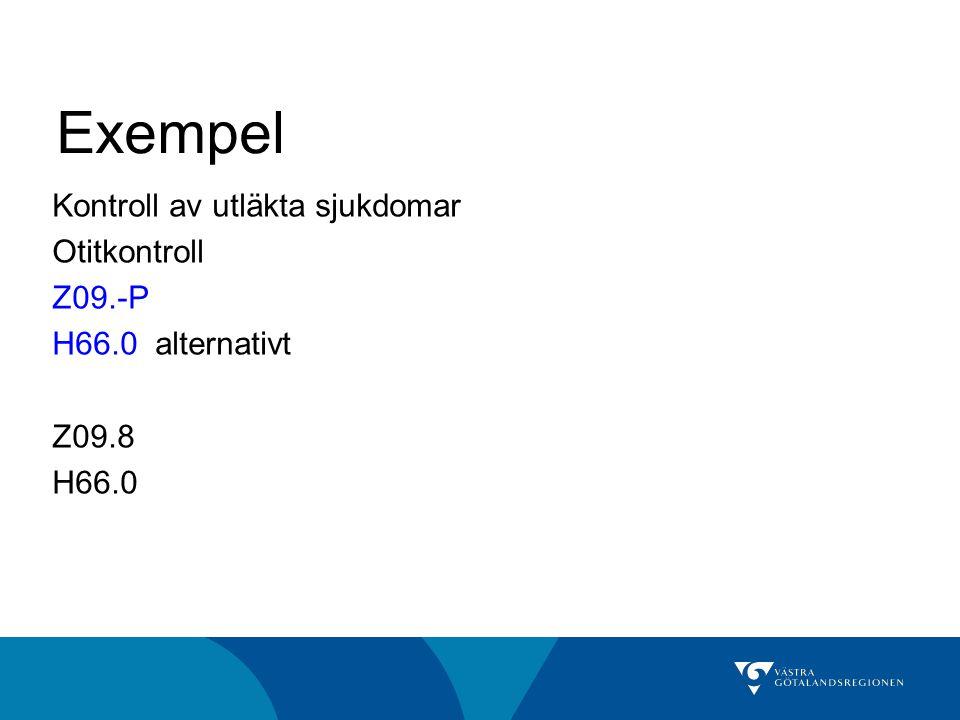 Exempel Kontroll av utläkta sjukdomar Otitkontroll Z09.-P H66.0 alternativt Z09.8 H66.0