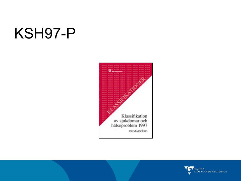 Anpassad för primärvården, förkortad Sammanlagt 972 diagnoser Utarbetad av SFAM Mer lätthanterlig och relevant för PV Kompatibel med KSH97 Liksom KSH97 utgiven av Socialstyrelsen