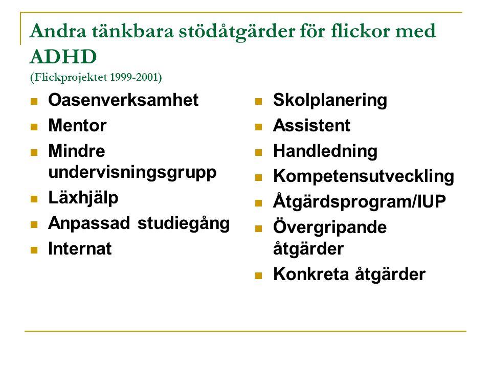 Andra tänkbara stödåtgärder för flickor med ADHD (Flickprojektet 1999-2001) Oasenverksamhet Mentor Mindre undervisningsgrupp Läxhjälp Anpassad studieg