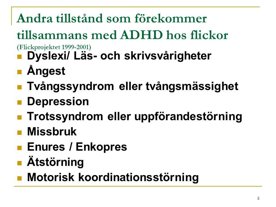 8 Andra tillstånd som förekommer tillsammans med ADHD hos flickor (Flickprojektet 1999-2001) Dyslexi/ Läs- och skrivsvårigheter Ångest Tvångssyndrom e