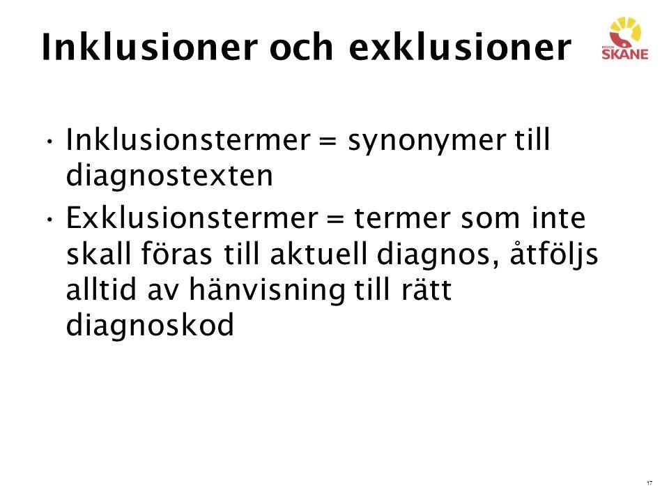17 Inklusioner och exklusioner Inklusionstermer = synonymer till diagnostexten Exklusionstermer = termer som inte skall föras till aktuell diagnos, åt