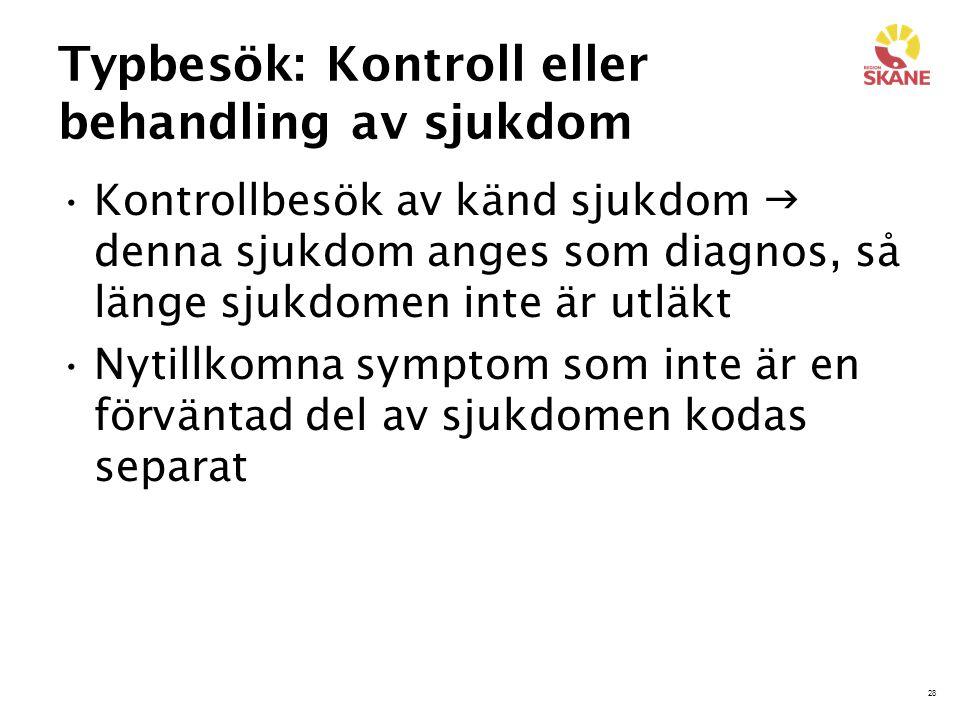 28 Typbesök: Kontroll eller behandling av sjukdom Kontrollbesök av känd sjukdom  denna sjukdom anges som diagnos, så länge sjukdomen inte är utläkt N