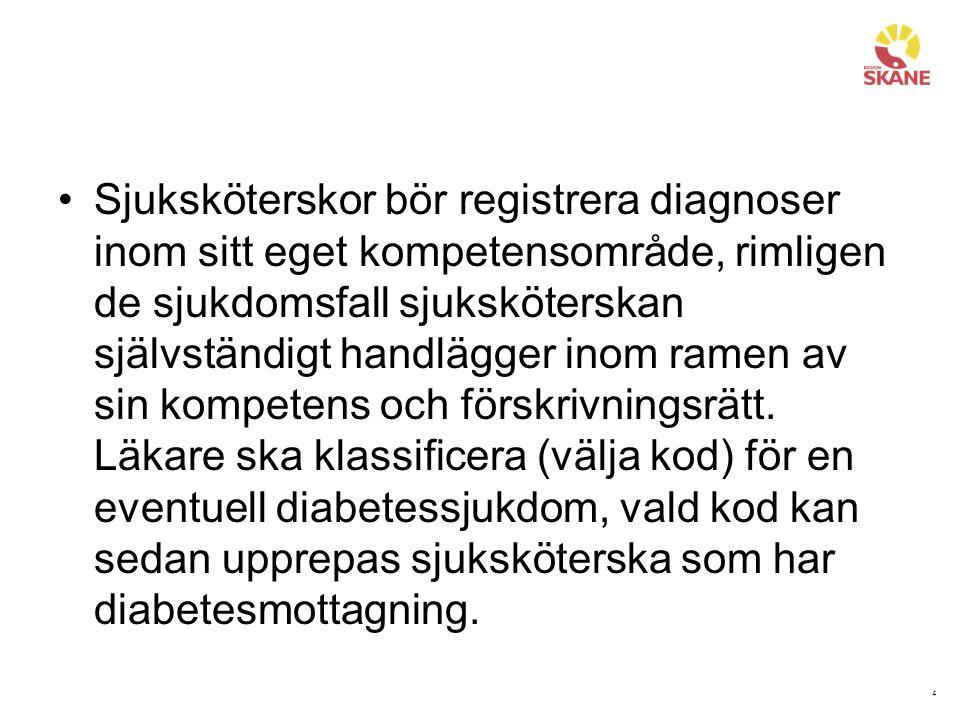 4 Sjuksköterskor bör registrera diagnoser inom sitt eget kompetensområde, rimligen de sjukdomsfall sjuksköterskan självständigt handlägger inom ramen