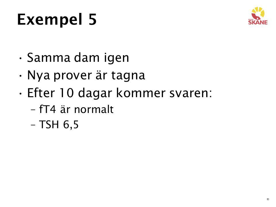 50 Exempel 5 Samma dam igen Nya prover är tagna Efter 10 dagar kommer svaren: –fT4 är normalt –TSH 6,5