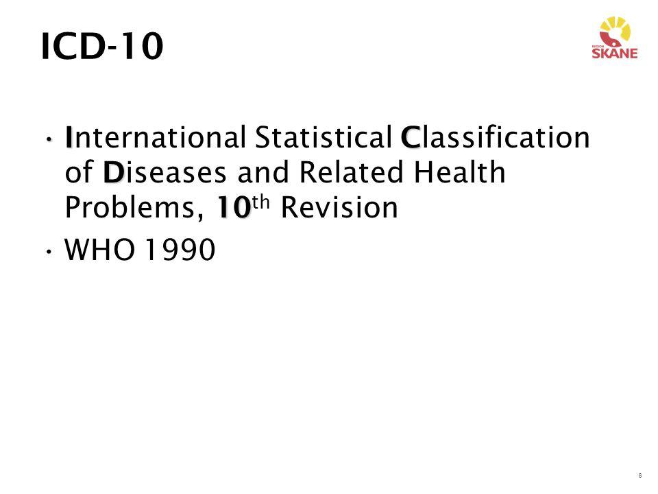 9 KSH97 Ks hKlassifikation av sjukdomar och hälsoproblem Svensk översättning av ICD-10 97Togs i bruk 1997
