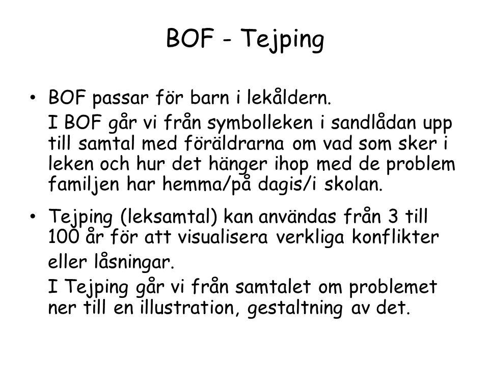 BOF - Tejping BOF passar för barn i lekåldern. I BOF går vi från symbolleken i sandlådan upp till samtal med föräldrarna om vad som sker i leken och h
