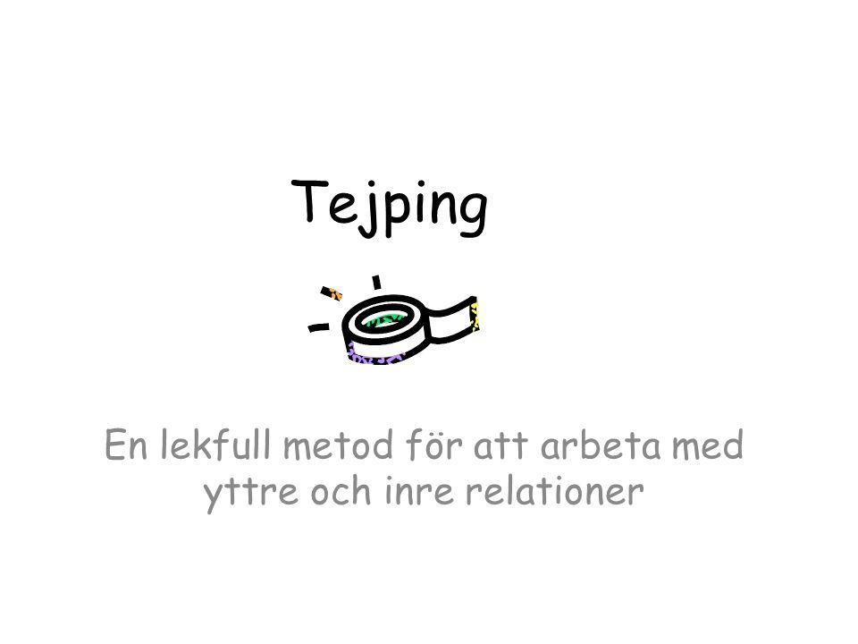 Tejping kan användas för att Visa nätverket med personer och platser Illustrera vardagsrutiner hemma, på dagis eller i skolan Visa upp en konfliktsituation i familjen eller i kamratgruppen Prova ut nya lösningar