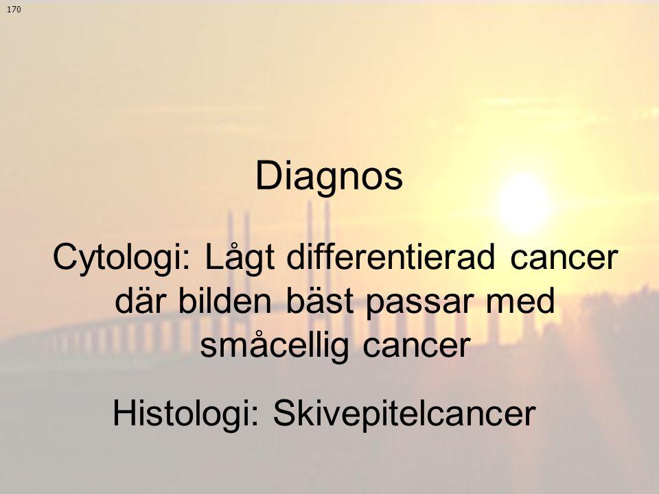 Cytologi: Lågt differentierad cancer där bilden bäst passar med småcellig cancer 170 Histologi: Skivepitelcancer Diagnos