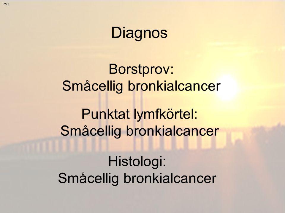 Diagnos 753 Borstprov: Småcellig bronkialcancer Punktat lymfkörtel: Småcellig bronkialcancer Histologi: Småcellig bronkialcancer