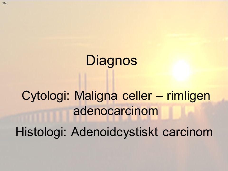 Histologi: Adenoidcystiskt carcinom 363 Cytologi: Maligna celler – rimligen adenocarcinom Diagnos