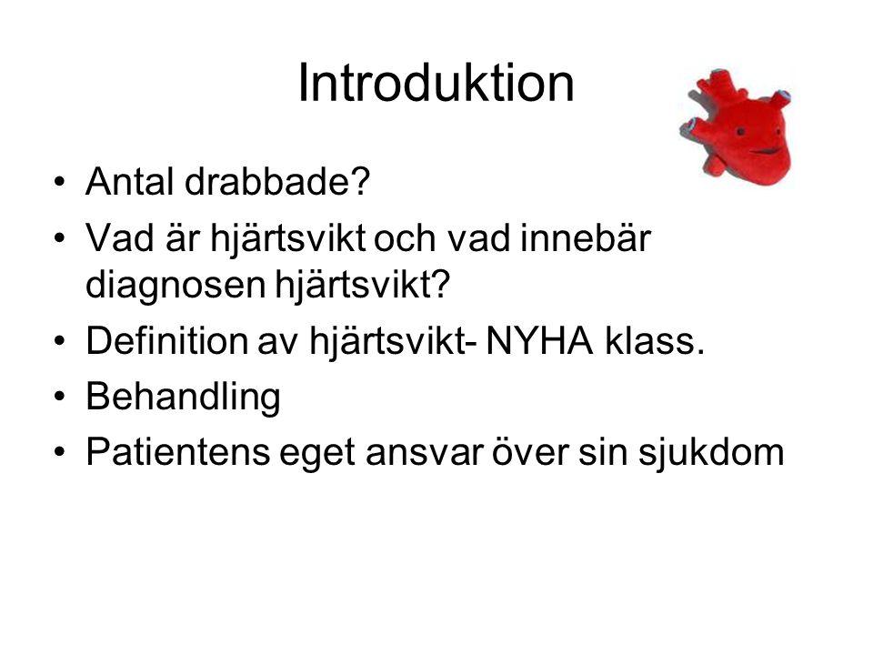 Introduktion Antal drabbade? Vad är hjärtsvikt och vad innebär diagnosen hjärtsvikt? Definition av hjärtsvikt- NYHA klass. Behandling Patientens eget