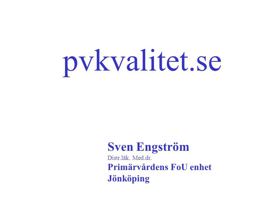 pvkvalitet.se Sven Engström Distr.läk. Med.dr. Primärvårdens FoU enhet Jönköping