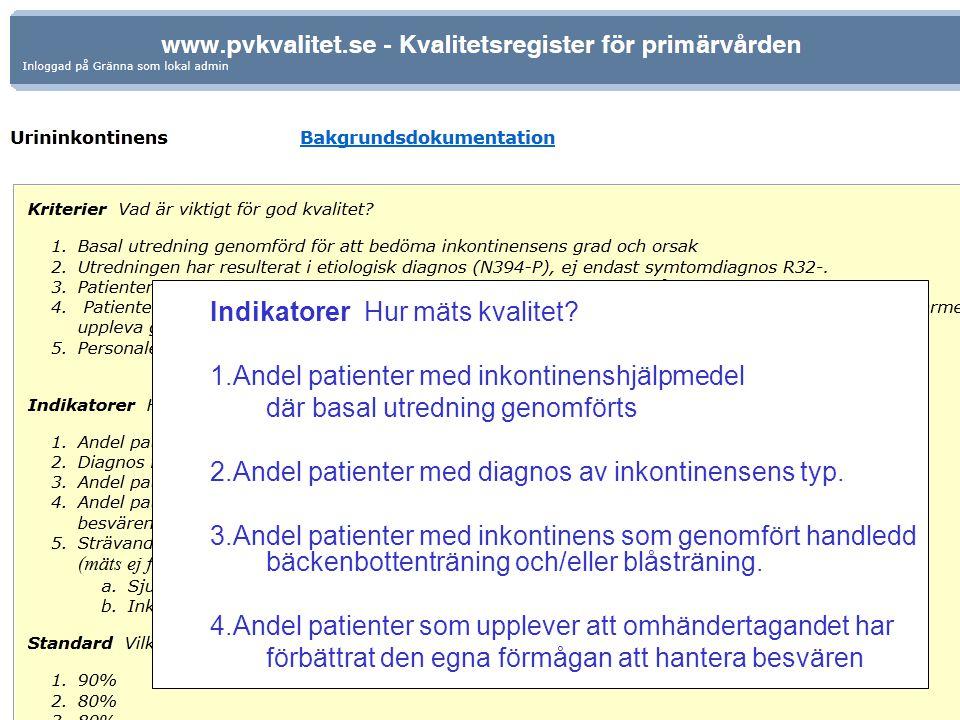 Indikatorer Hur mäts kvalitet? 1.Andel patienter med inkontinenshjälpmedel där basal utredning genomförts 2.Andel patienter med diagnos av inkontinens