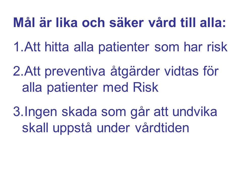 Mål är lika och säker vård till alla: 1.Att hitta alla patienter som har risk 2.Att preventiva åtgärder vidtas för alla patienter med Risk 3.Ingen skada som går att undvika skall uppstå under vårdtiden
