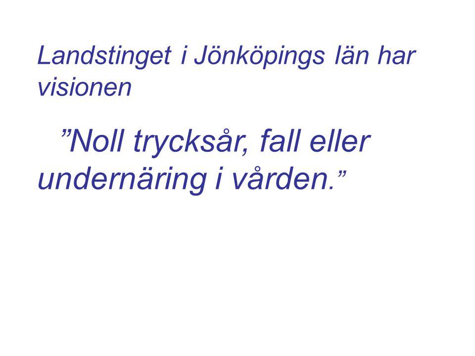Landstinget i Jönköpings län har visionen Noll trycksår, fall eller undernäring i vården.