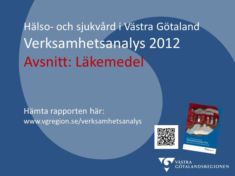 Hälso- och sjukvård i Västra Götaland Verksamhetsanalys 2012 Avsnitt: Läkemedel Hämta rapporten här: www.vgregion.se/verksamhetsanalys