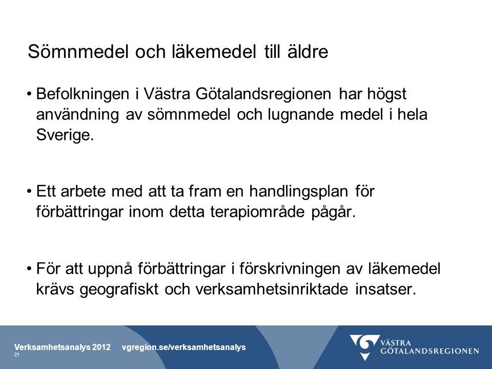 Sömnmedel och läkemedel till äldre Befolkningen i Västra Götalandsregionen har högst användning av sömnmedel och lugnande medel i hela Sverige. Ett ar
