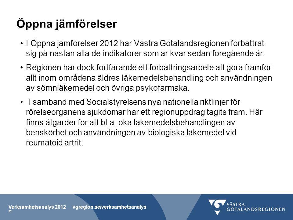 Öppna jämförelser I Öppna jämförelser 2012 har Västra Götalandsregionen förbättrat sig på nästan alla de indikatorer som är kvar sedan föregående år.