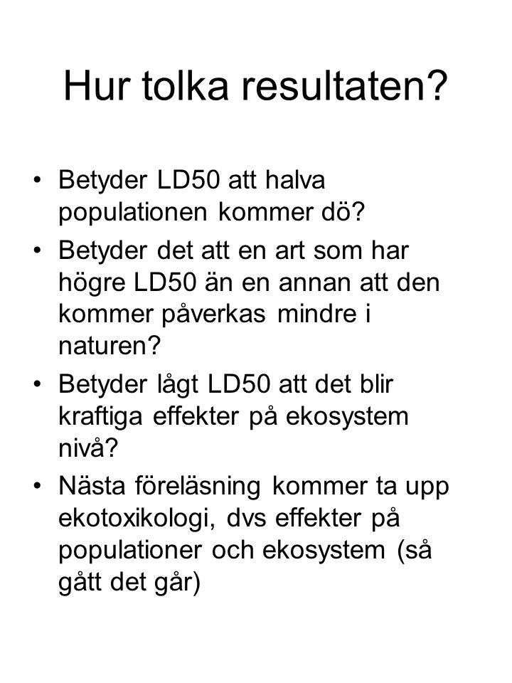 Hur tolka resultaten? Betyder LD50 att halva populationen kommer dö? Betyder det att en art som har högre LD50 än en annan att den kommer påverkas min