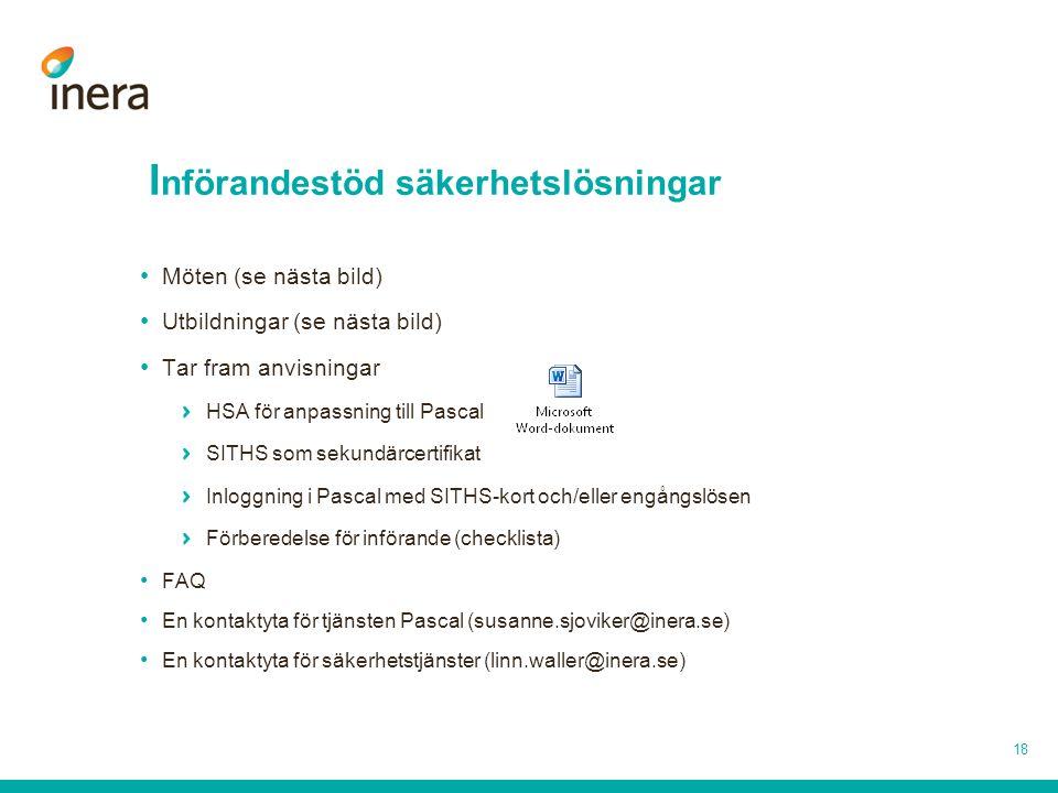 I nförandestöd säkerhetslösningar 18 Möten (se nästa bild) Utbildningar (se nästa bild) Tar fram anvisningar HSA för anpassning till Pascal SITHS som