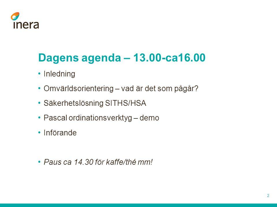 Dagens agenda – 13.00-ca16.00 Inledning Omvärldsorientering – vad är det som pågår? Säkerhetslösning SITHS/HSA Pascal ordinationsverktyg – demo Införa