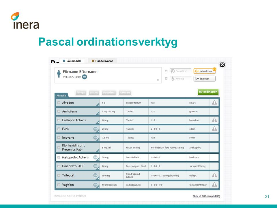 Pascal ordinationsverktyg 21