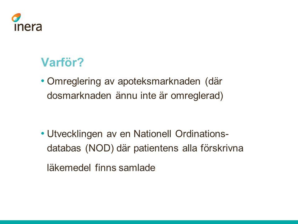 Varför? Omreglering av apoteksmarknaden (där dosmarknaden ännu inte är omreglerad) Utvecklingen av en Nationell Ordinations- databas (NOD) där patient