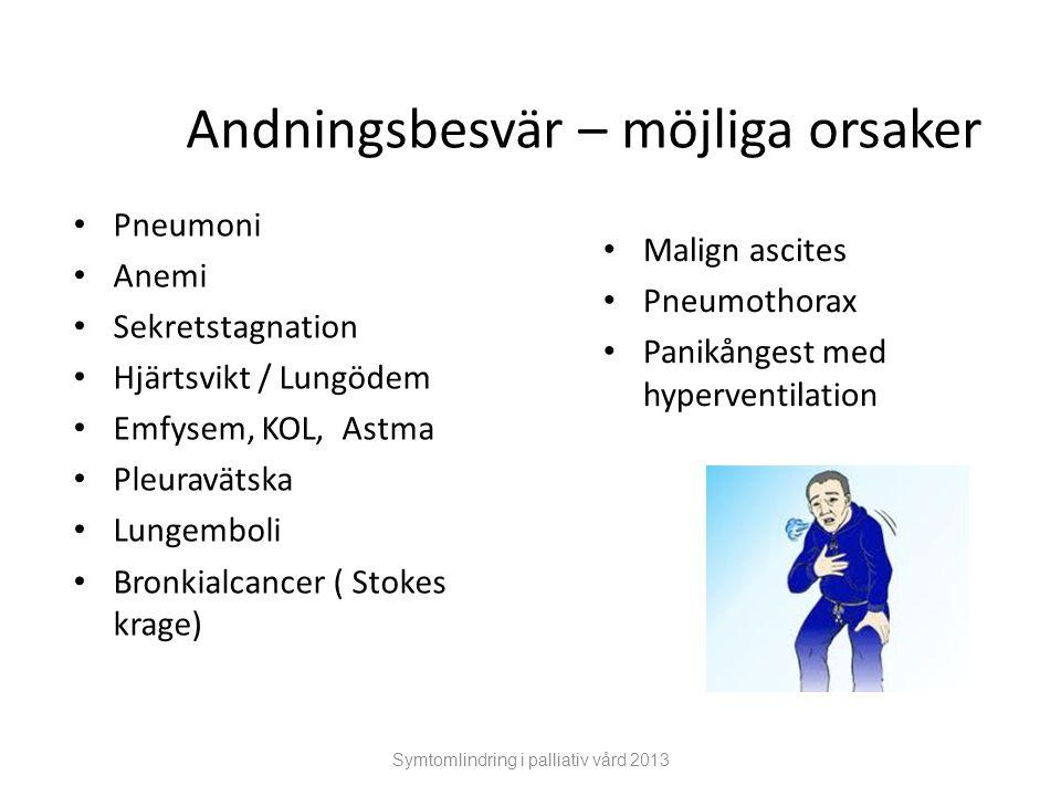 Andningsbesvär – möjliga orsaker Pneumoni Anemi Sekretstagnation Hjärtsvikt / Lungödem Emfysem, KOL, Astma Pleuravätska Lungemboli Bronkialcancer ( St
